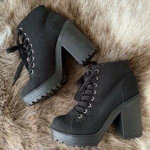Black Platform Heel Lace Up Boots